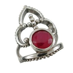 Sterling Silver 24mm Ruby Bohemian Style Ring (mixed Sizes)