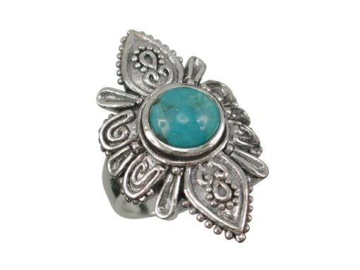 Sterling Silver 30mm Blue Turquoise Bohemian Style Ring