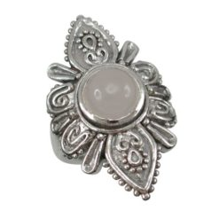 Sterling Silver 30mm Moonstone Bohemian Style Ring