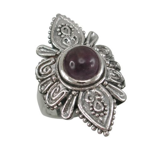 Sterling Silver 30mm Amethyst Bohemian Style Ring
