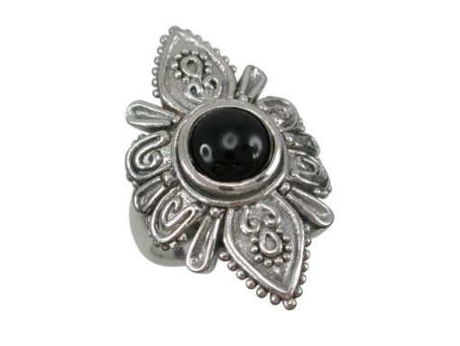 Sterling Silver 30mm Black Onyx Bohemian Style Ring