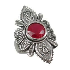 Sterling Silver 30mm Natural Ruby Bohemian Style Ring