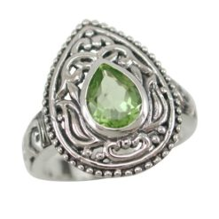 Sterling Silver 20mm Teardrop Lime Cubic Zirconia Bohemian Style Ring