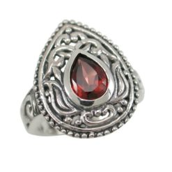 Sterling Silver 20mm Teardrop Red Cubic Zirconia Bohemian Style Ring