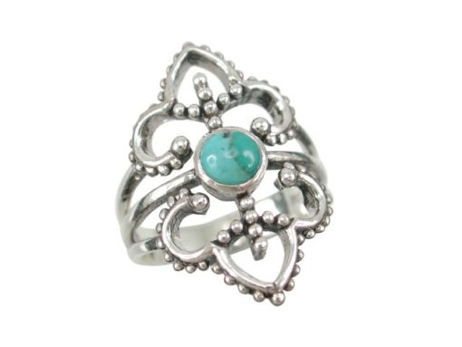 Sterling Silver 26mm Blue Turquoise Bohemian Style Ring