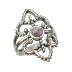 Sterling Silver 26mm Amethyst Bohemian Style Ring