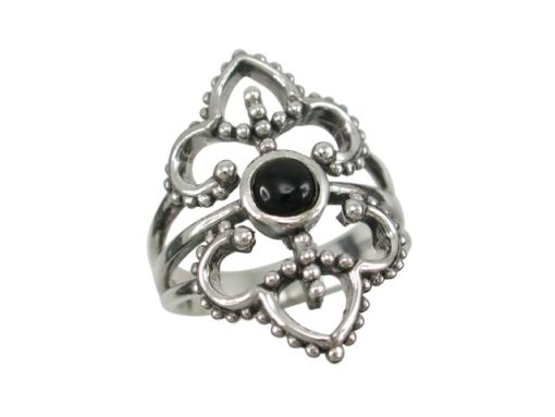 Sterling Silver 26mm Black Onyx Bohemian Style Ring