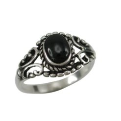 Sterling Silver 10mm Oval Black Onyx Bohemian Style Ring