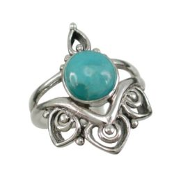 Sterling Silver 22mm Blue Turquoise Bohemian Style Ring (mixed Sizes)