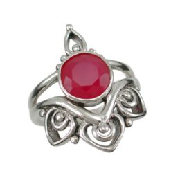 Sterling Silver 22mm Natural Ruby Bohemian Style Ring (mixed Sizes)