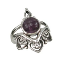 Sterling Silver 22mm Amethyst Ruby Bohemian Style Ring (mixed Sizes)