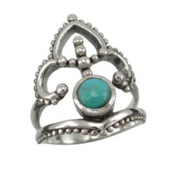 Sterling Silver 23mm Blue Turquoise Bohemian Style Ring