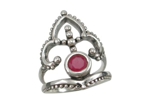 Sterling Silver 23mm Natural Ruby Bohemian Style Ring
