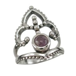 Sterling Silver 23mm Amethyst Bohemian Style Ring