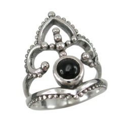 Sterling Silver 23mm Black Onyx  Bohemian Style Ring