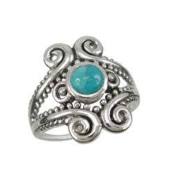 Sterling Silver 18mm Blue Turquoise Bohemian Style Ring