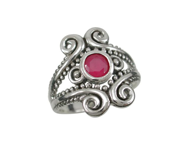 Sterling Silver 18mm Natural Ruby Bohemian Style Ring