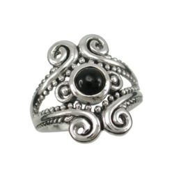 Sterling Silver 18mm Black Onyx Bohemian Style Ring