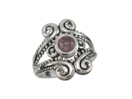 Sterling Silver 18mm Amethyst Bohemian Style Ring