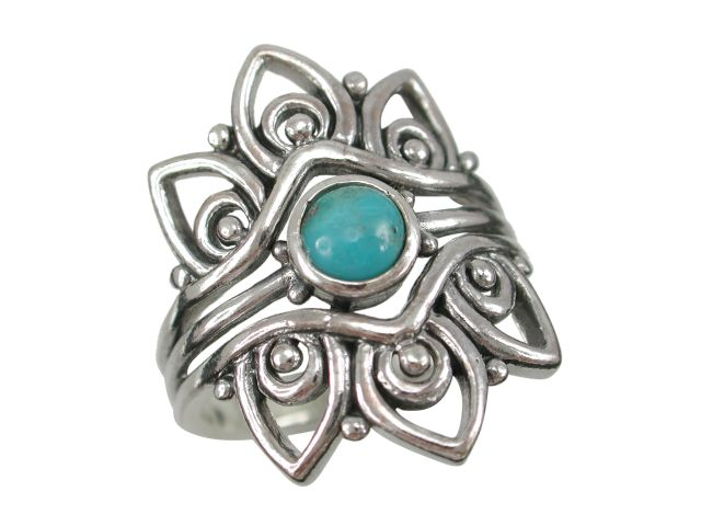 Sterling Silver 25mm Blue Turquoise Bohemian Style Ring