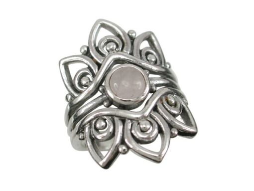 Sterling Silver 25mm Moonstone Bohemian Style Ring