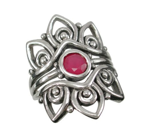 Sterling Silver 25mm Natural Ruby Bohemian Style Ring