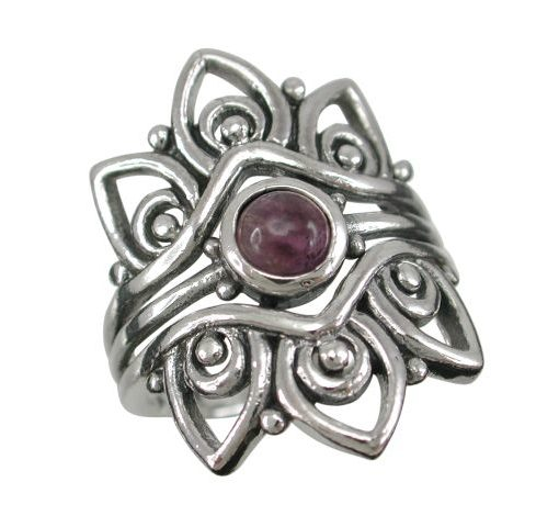 Sterling Silver 25mm Amethyst Bohemian Style Ring