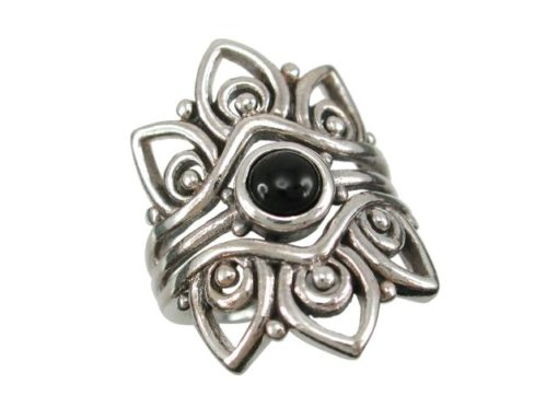 Sterling Silver 25mm Black Onyx Bohemian Style Ring