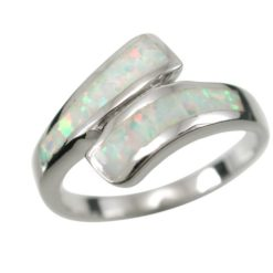 Sterling Silver 10mm White Synthetic Opal Crossover Ring