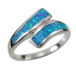Sterling Silver 10mm Blue Synthetic Opal Crossover Ring