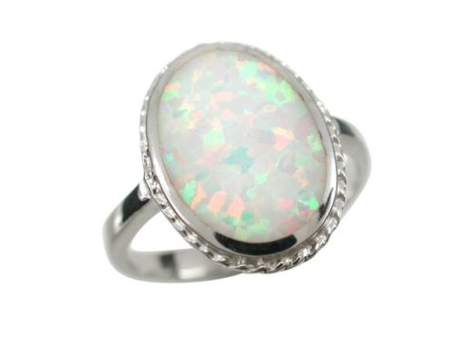 Sterling Silver 16mm Oval White Synthetic Opal Ring