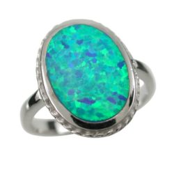 Sterling Silver 16mm Oval Blue Synthetic Opal Ring