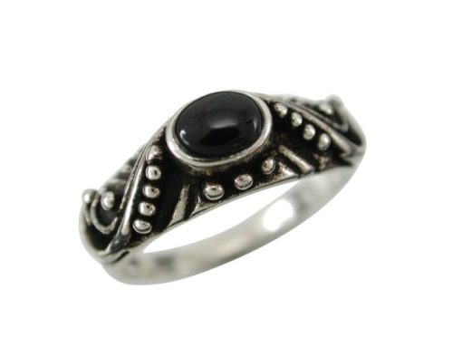 Sterling Silver 7mm Oval Black Onyx Bohemain Style Ring
