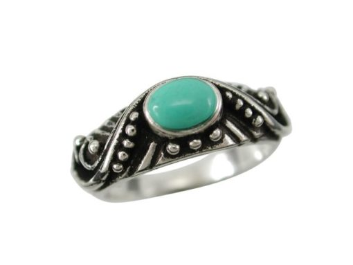 Sterling Silver 7mm Oval Green Turquoise Bohemain Style Ring