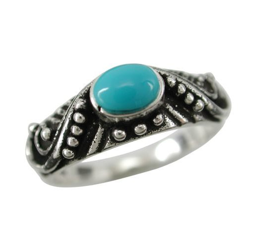 Sterling Silver 7mm Oval Blue Turquoise Bohemain Style Ring