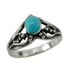 Sterling Silver 9mm Oval Blue Turquoise Bohemain Style Ring (mixed Sizes)