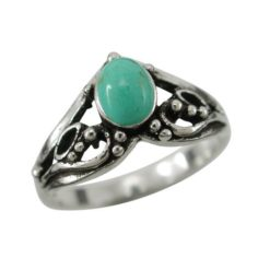 Sterling Silver 9mm Oval Green Turquoise Bohemain Style Ring (mixed Sizes)