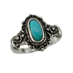 Sterling Silver 13mm Oval Blue Turquoise Bohemain Style Ring
