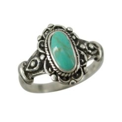 Sterling Silver 13mm Oval Green Turquoise Bohemain Style Ring (mixed Sizes)