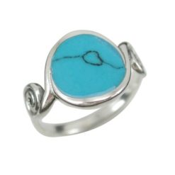 Sterling Silver13mm Round Blue Turquoise Spiral Ring (mixed Sizes)