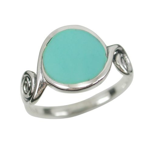 Sterling Silver13mm Round Green Turquoise Spiral Ring (mixed Sizes)