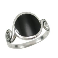 Sterling Silver13mm Round Black Onyx Spiral Ring (mixed Sizes)