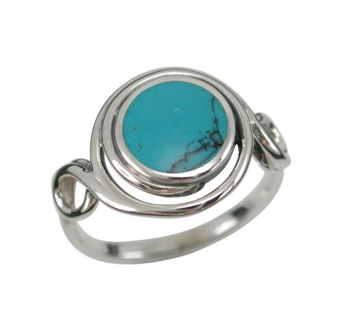 Sterling Silver13mm Blue Turquoise Twisted Wire Ring (mixed Sizes)