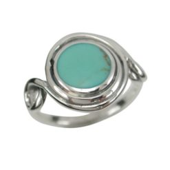 Sterling Silver13mm Green Turquoise Twisted Wire Ring (mixed Sizes)