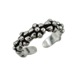 Sterling Silver 5mm Oxidised Flowers Toe Ring