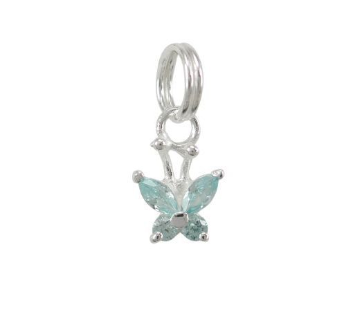 Sterling Silver 7mm Aqua Cubic Zirconia Butterfly Charm With Split Ring