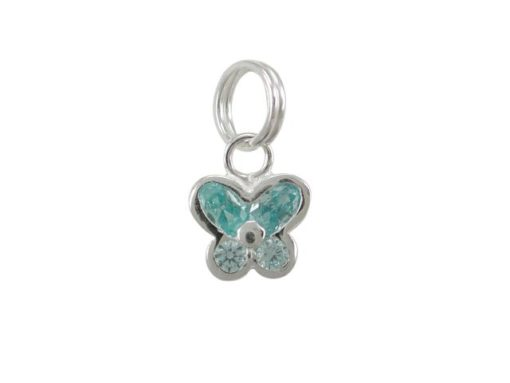 Sterling Silver 8mm Aqua Cubic Zirconia Butterfly Charm With Split Ring