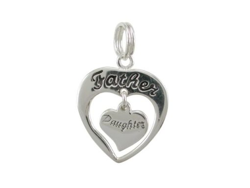 Sterling Silver 16mm Father - Daughter Heart Charm With Split Ring