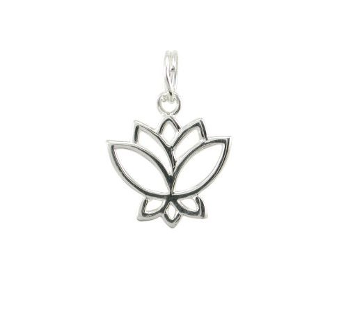 Sterling Silver 15x13mm Lotus Flower Charm