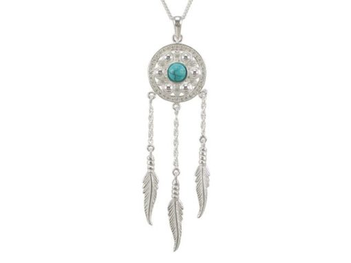 Sterling Silver 70x19mm Blue Turquoise & White Cubic Zirconia Dream Catcher Necklet 40-45cm